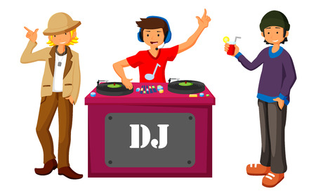 Illustration pour Young DJ mixing music on turntables on the stage of nightclub flat design. - image libre de droit