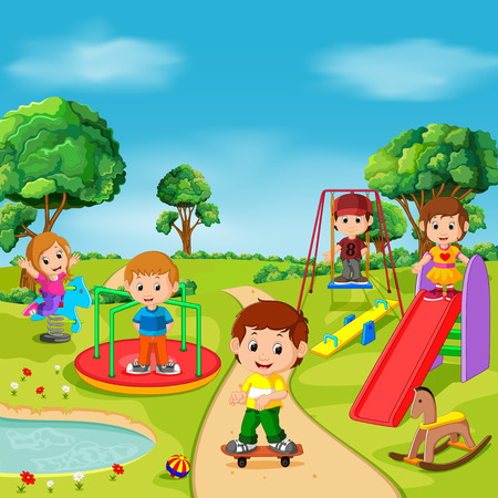 Illustration for Kids playing outdoor in park - Royalty Free Image
