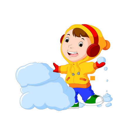 Illustration pour Cartoon kid playing with snow - image libre de droit