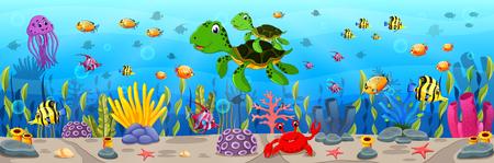 Illustration pour Cartoon turtle underwater illustration. - image libre de droit