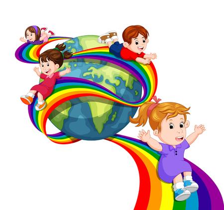 Ilustración de Kids sliding on rainbow in sky - Imagen libre de derechos