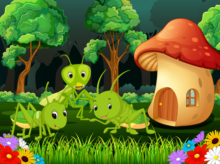 Photo pour many grasshopper and a mushroom house in forest - image libre de droit