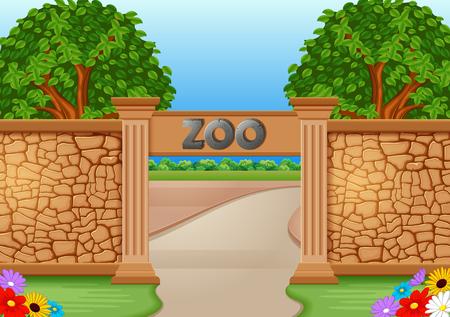 Illustration pour Zoo in a beautiful nature illustration. - image libre de droit