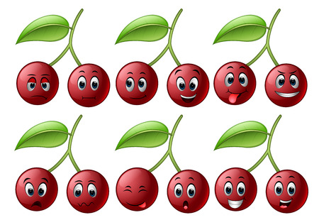 Cherry with different emoticon