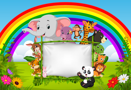 Illustration pour wild animal standing on a bamboo frame with rainbow scene - image libre de droit