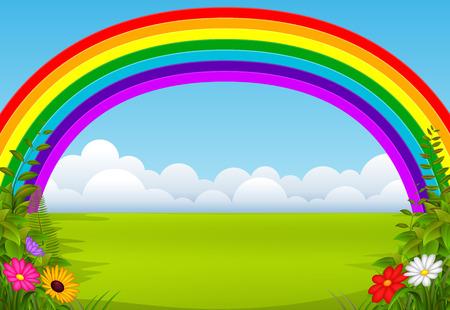 Illustration pour An enchanting garden with a rainbow - image libre de droit