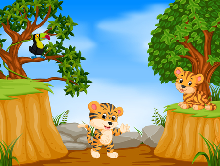 Illustrazione per two tiger and toucan with mountain cliff scene - Immagini Royalty Free