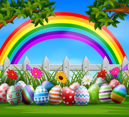 Illustration pour Easter eggs and colorful rainbow on the garden Vector illustration. - image libre de droit