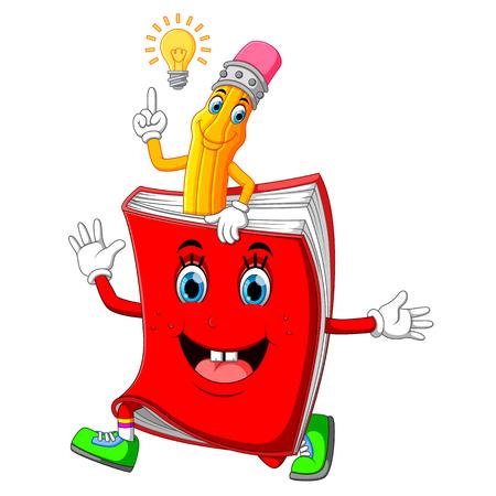 Illustrazione per Cute pencil cartoon with book - Immagini Royalty Free