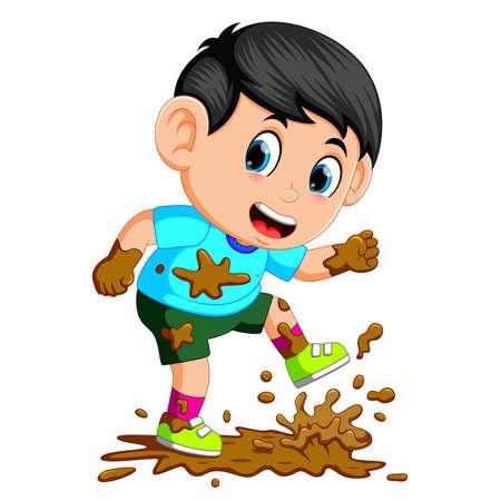 Ilustración de Little boy running in the mud - Imagen libre de derechos