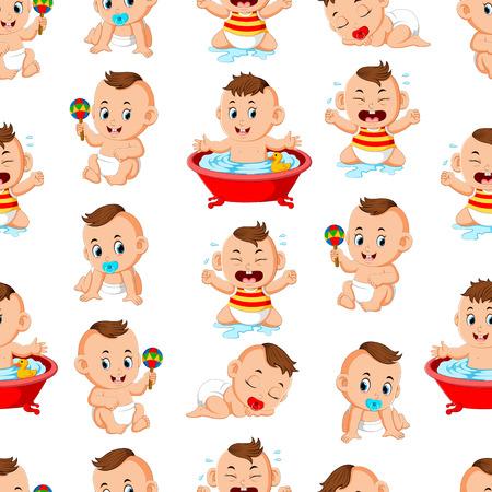 Foto für Seamless pattern with happy babys doing the activities - Lizenzfreies Bild
