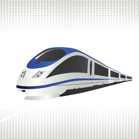 High-speed train on halftone background. Vector illustration.