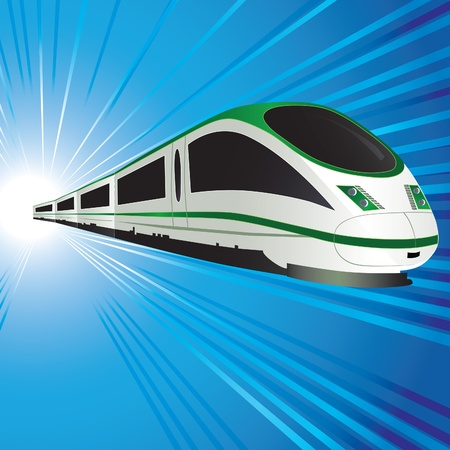 High-speed train on abstract tunnel background. Vector illustration. Eps10.