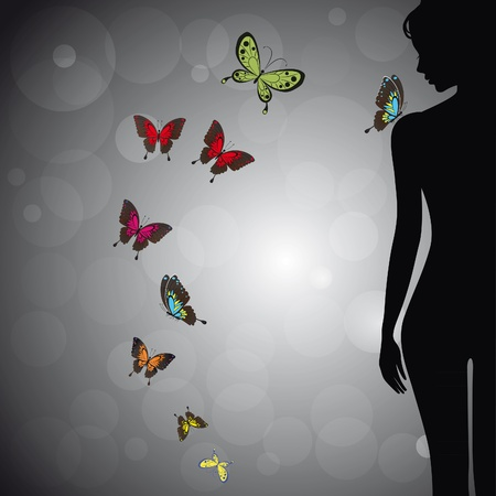 Sexual woman silhouette girl with colorful butterfly on bokeh background. Face profile. Vector illustration