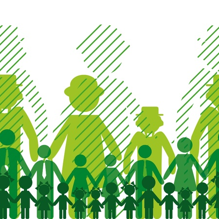Illustration for Ecology icon, family background. Seamless generation communication people. Social network chain. - Royalty Free Image