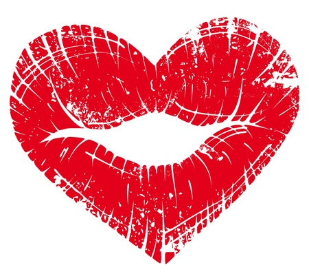 Photo pour lip heart, print valentine kiss, romantic background. Design element. - image libre de droit