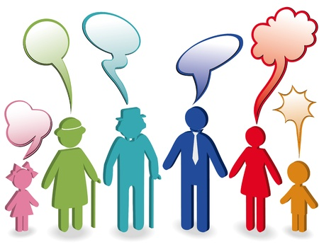 Community, people chat, family icon. Person woman, old man, child, grandpa, grandfather, grandmother. Generation character. Communication illustration with speak bubble, speech balloon. 3d