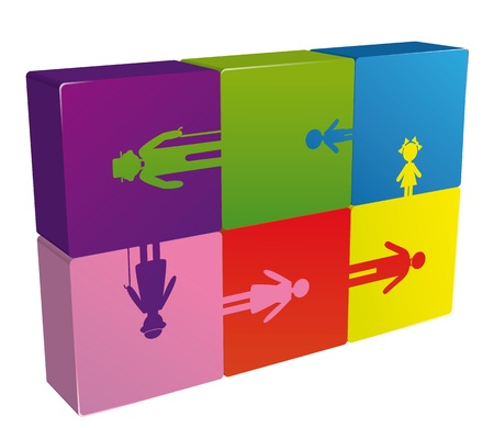 Family puzzle logo generation people, icon vector illustration. Social background.