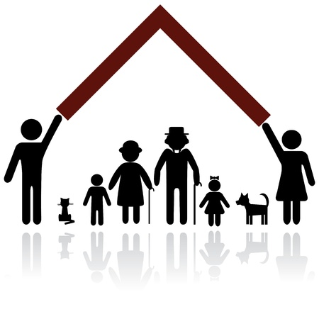 Photo for Protection people silhouette family icon. Person vector woman, man. Child, grandfather, grandmother, dog, cat. Home illustration. - Royalty Free Image