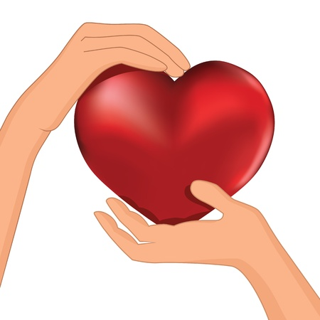 Illustration for Person hold red heart in hand vector  Protection illustration, cardiology, health  - Royalty Free Image