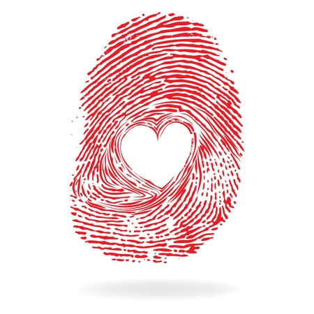 Photo for Vector heart, man or woman fingerprint valentine romantic background  Design element  - Royalty Free Image