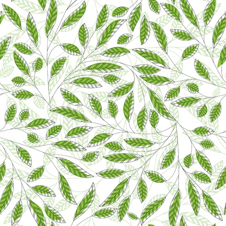 Illustration for Leaf floral abstract seamless vector background. Art  pattern. Fabric texture vintage design. Pretty cute wallpaper filigree tile. - Royalty Free Image
