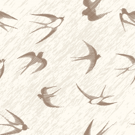 Illustration pour Bird swallow seamless vintage set  Vector illustration poses isolated on white  - image libre de droit