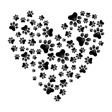 Illustration pour Adopt Dog Paw Heart vector animal help illustration - image libre de droit