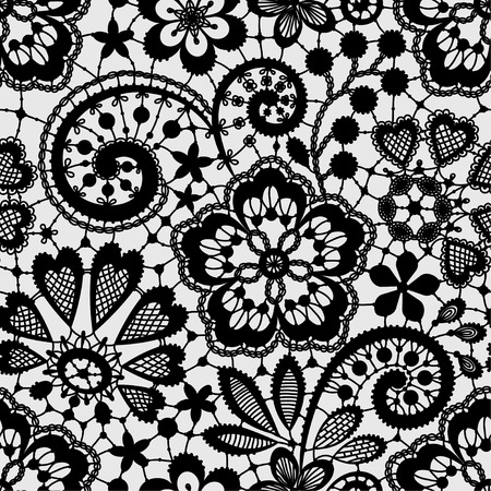 Illustration pour Black Lace Seamless Pattern - image libre de droit