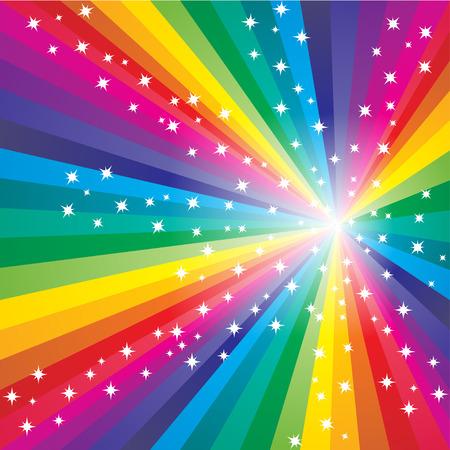 Illustration pour Abstract colorful starry rainbow background - image libre de droit