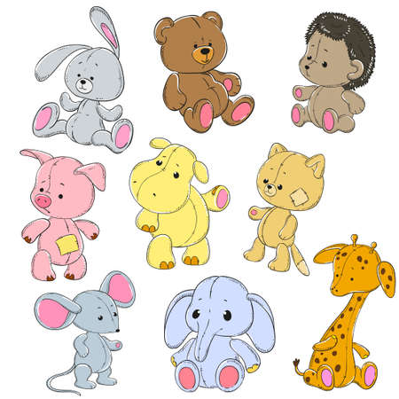 Illustration pour Collection of soft toys. Cartoon toy rabbit, elephant, hippo, cat, bear, giraffe, mouse, hedgehog, pig. Vector doodle characters. - image libre de droit
