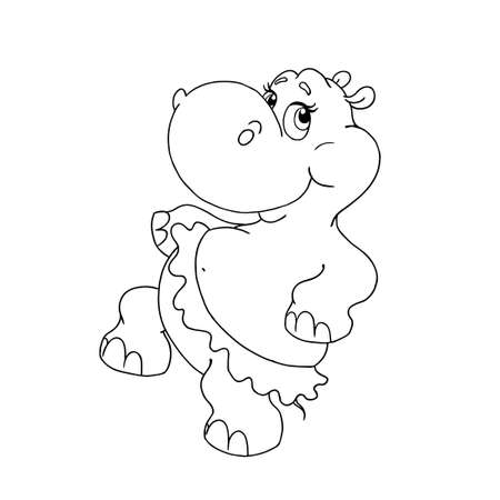 Illustration for Cheerful hippo dancing. Vector cartoon character Hippo. Hippo in skirt. Page for coloring book. Hippo for coloring. Object for children's creativity. Vector isolated. - Royalty Free Image