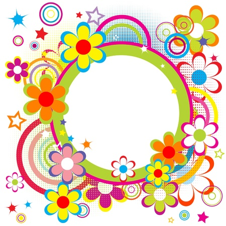 Photo for Happy frame for kids with circles, flowers and stars - Royalty Free Image