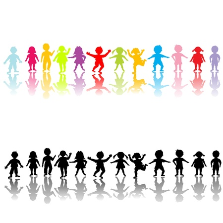 Illustration for Happy children silhouettes - Royalty Free Image