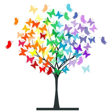 Illustration for Butterflies rainbow tree - Royalty Free Image