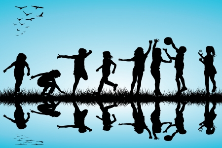Illustration for Group of children silhouettes playing outdoor - Royalty Free Image