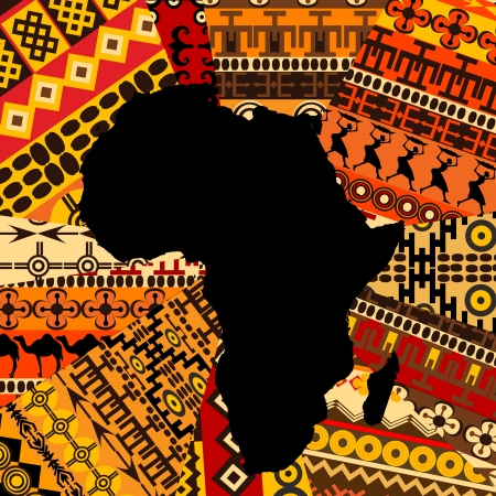 Illustration for Africa map on ethnic background - Royalty Free Image