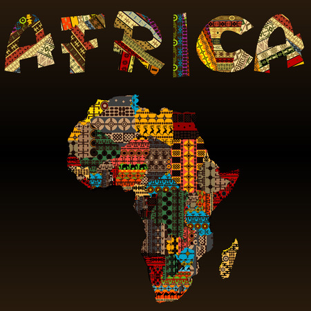 Illustration pour Africa map with African typography made of patchwork fabric texture - image libre de droit