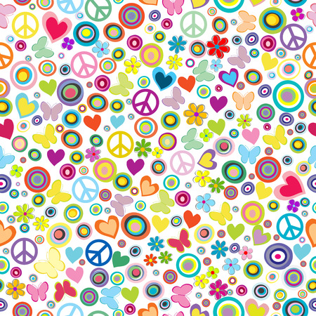 Ilustración de Flower power background seamless pattern with flowers, peace signs, circles and butterflies - Imagen libre de derechos