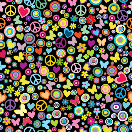 Illustration pour Seamless pattern of flowers, circles, hearts, butterflies and peace signs - image libre de droit