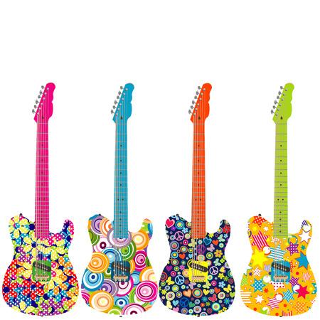 Ilustración de Flower power electric guitars - Imagen libre de derechos
