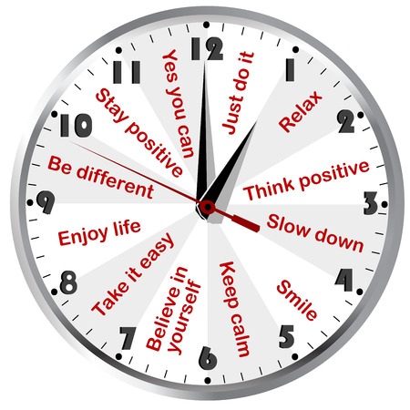Illustrazione per Clock with motivational and positive thinking messages - Immagini Royalty Free