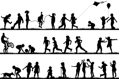 Illustrazione per Children silhouettes playing outdoor - Immagini Royalty Free