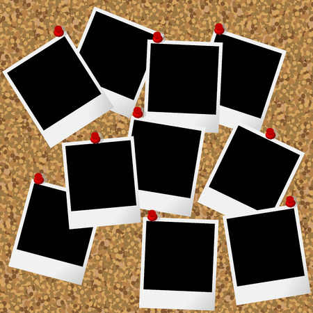 Ilustración de Blakn photo frames hanging on cork board with pushpins - Imagen libre de derechos