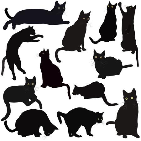 Illustration pour Black cats silhouettes - image libre de droit