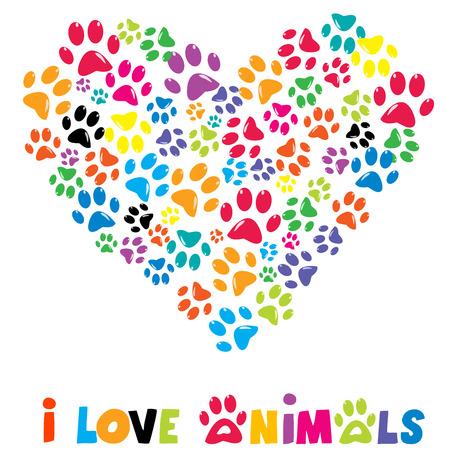 Ilustración de Colorful heart with animals footprints and text I love animals - Imagen libre de derechos