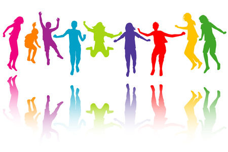 Illustration for Set of colorful children silhouettes jumping - Royalty Free Image