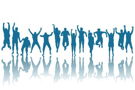 Photo pour Silhouettes of happy people jumping - image libre de droit