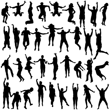 Illustration pour Silhouettes set of children and young people jumping - image libre de droit