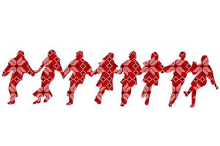 Illustration for Ethnic decoration patterned dancers - Royalty Free Image